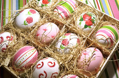 Easter Eggs. Hand painted in a wooden box royalty free stock images
