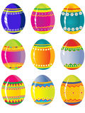 Easter eggs. Nine cute colorful easter eggs Royalty Free Stock Photo