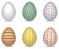 Easter Eggs. A set of six easter eggs each with different patterns Stock Photo