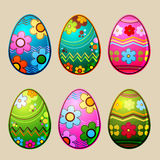 Easter eggs. Shiny easter eggs with colorful patterns; illustration stock illustration
