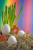Easter eggs. White easter eggs with colourful background Stock Image