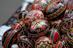 Easter eggs. Some painted Easter egg in basket Stock Photos