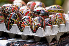 Easter eggs. Some painted Easter egg in board Royalty Free Stock Photo