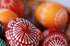 Easter eggs. Painted with wax Stock Photos