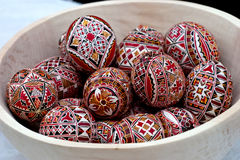Easter eggs. Some painted Easter egg in plate Royalty Free Stock Photography