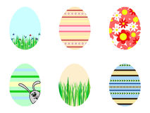 Easter eggs. A set of six different design easter eggs Stock Photography