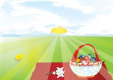 Easter eggs. Easter Day Celebration at the picnic vector illustration