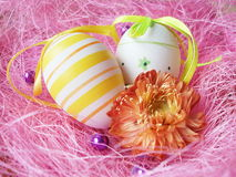 Easter eggs. In pink background stock photography