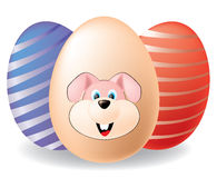 Easter eggs. Illustration of Easter eggs with Easter Bunny Stock Images