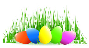 Easter eggs. Multi-coloured Easter eggs lie in a grass. On white.Vector illustration Royalty Free Stock Images