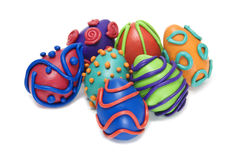 Easter eggs. Some easter eggs of different colors isolated on a white background Stock Images