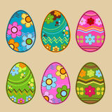 Easter eggs. Six colorful easter eggs set stock illustration