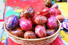 Easter eggs. Painted wooden eggs with easter decoratin royalty free stock photography