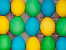 Easter eggs. On the traditional ukrainian background Royalty Free Stock Photos