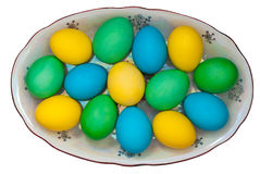 Easter eggs. Traditional ukrainian easter eggs on the plate Stock Photos
