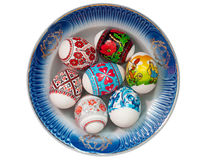 Easter eggs. Traditional ukrainian easter eggs on a plate Stock Image