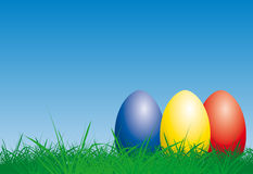 Easter Eggs. Illustration of colorful easter eggs in the grass Stock Photo