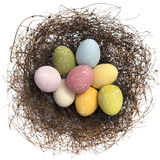 Easter Eggs. In a bird's nest, isolated on white
