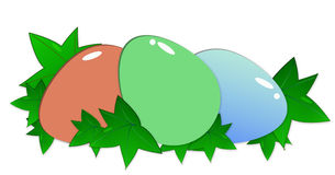 Easter eggs. Colorful easter eggs on green leaves Stock Images