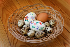 Easter Eggs. Lying in a wicker basket Royalty Free Stock Image