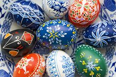 Easter eggs. Decorative easter eggs, egg painted with color, background Stock Image