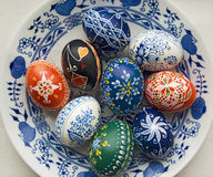 Easter eggs. Colorful easter eggs painted by hand used as decoration, background stock photography