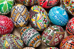 Easter eggs. Set of Easter eggs painted in traditional Eastern European style with a floral/geometric design royalty free stock image