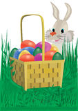 Easter eggs. Easter eggs in the basket in the grass with a rabbit, raster illustration Royalty Free Stock Photo
