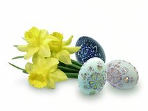 Easter Eggs. Easter egg with flowers of daffodils on white background Stock Photo
