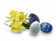 Easter Eggs. Easter egg with flowers of daffodils on white background Royalty Free Stock Photos
