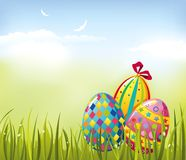 Easter eggs. On fresh green grass Stock Photos