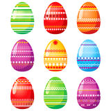Easter eggs. 9 colorful Easter eggs icons Royalty Free Stock Photos