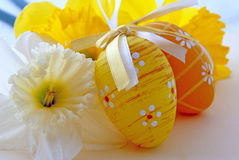 Easter eggs. Painted Easter eggs with flowers stock photography