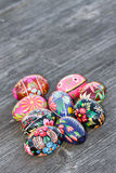 Easter eggs. Colored easter eggs on the table Royalty Free Stock Image