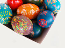 Easter eggs. Several various Easter eggs in white dish Royalty Free Stock Image