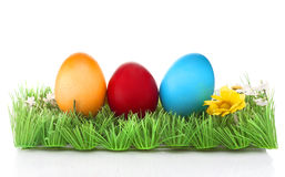 Easter eggs. Three colored Easter eggs on artificial grass Royalty Free Stock Photo