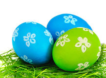 Easter eggs. On the grass over white background Stock Photography