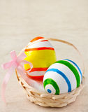Easter eggs. Painted easter eggs in a basket with ribbon Stock Photography