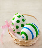Easter eggs. Painted easter eggs in a basket with ribbon Stock Photo