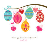Easter eggs. Decorative Easter eggs and hearts hanging