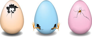Easter eggs. Three cute and funna easter eggs stock illustration