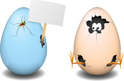 Easter eggs. Two cute and funny easter eggs royalty free illustration