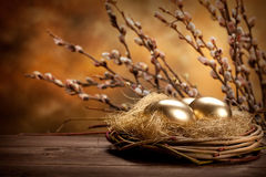 Easter eggs. In the nest royalty free stock photos