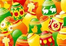 Easter eggs. Horizontal vector spring background of  many easter eggs Stock Image