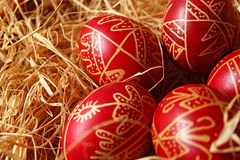 Easter eggs. Traditional easter eggs in straw Stock Photography