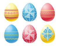 Easter eggs. Decorated easter eggs on white background. Vector Stock Photo