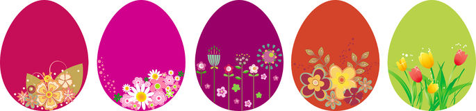 Easter eggs. Set of Easter eggs with flowers Stock Images