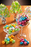 Easter eggs. On a wooden table with some decoration element royalty free stock image