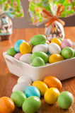 Easter eggs. On a wooden table with some decoration element stock images