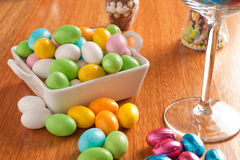 Easter eggs. On a wooden table with some decoration element stock photos